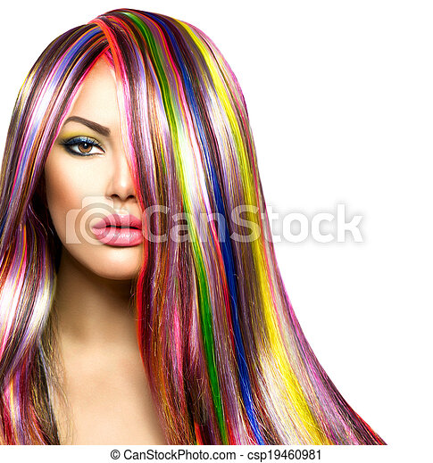 Colorful Hair and Makeup. Beauty Fashion Model Girl - csp19460981