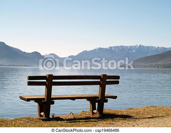 bench at lake - csp19466486