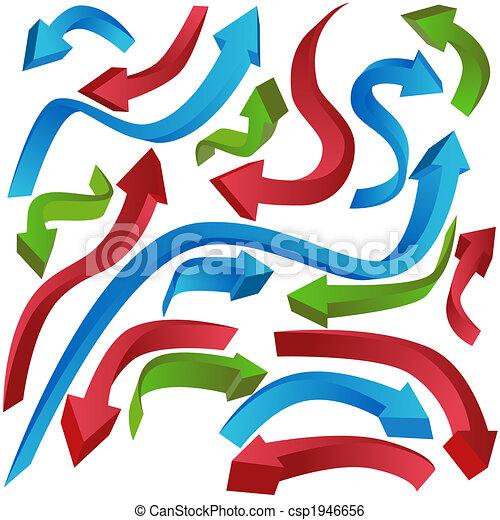 Stock Illustration of Wavy Arrows - Directional arrow icon set ...