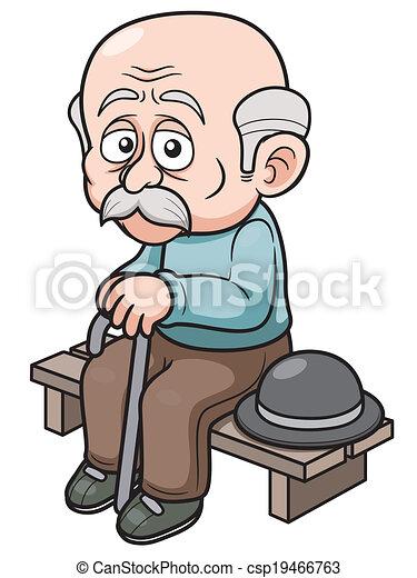 Clip Art Vector of Cartoon Old man - illustration of Cartoon Old ...