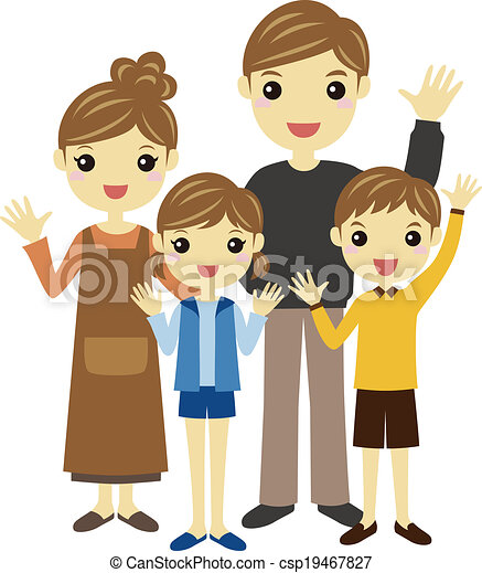 Clip Art of Parents and children - Waving parents and ...