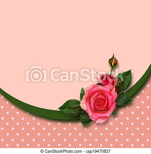 Rose flowers composition and holiday frame - csp19470837