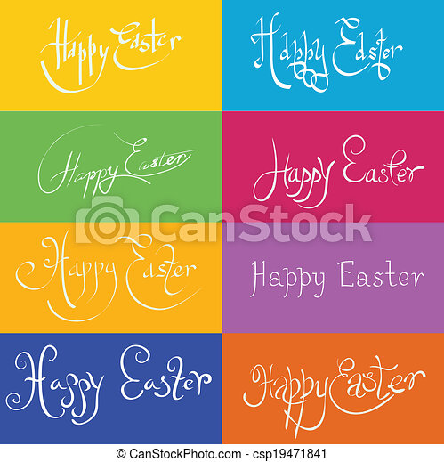 set  of hand drawn typograhy Happy Easter - csp19471841
