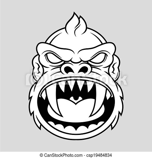 Monkey Clipart Vector Vector Furious Monkey Head