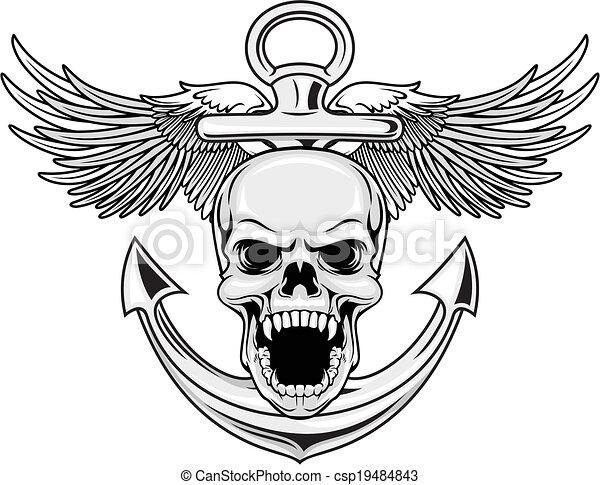 Vecteur EPS De Marine Cr&226ne  Illustration &224 Ancre Et Csp19484843