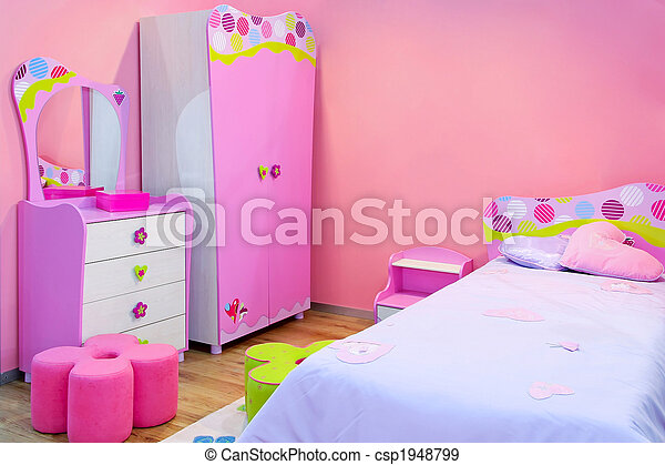 Stock fotografieken van roze kamer interieur van meiden kamer alles in roze - Roze kleine kamer ...