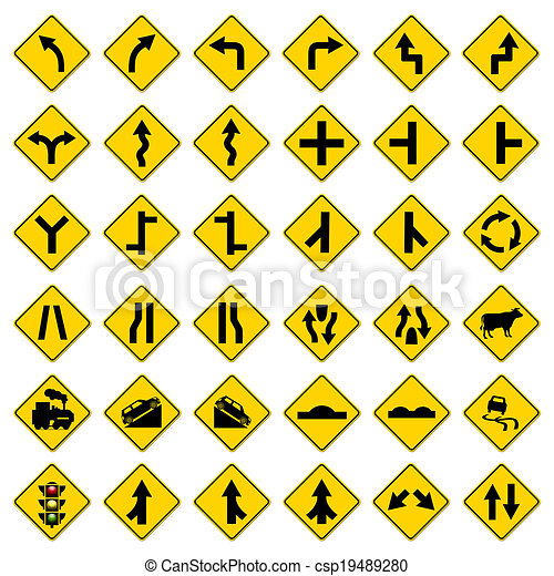 yellow road signs, traffic signs set on white background - csp19489280