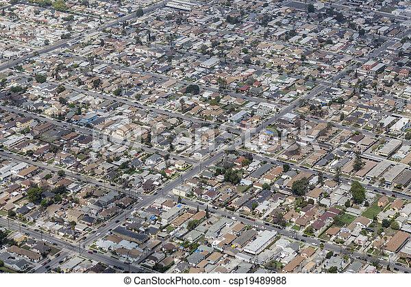 South Central Los Angeles Aerial - csp19489988