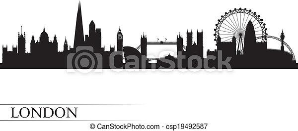 London city skyline silhouette background - csp19492587