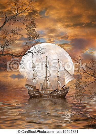 fantasie, landschaftsbild - csp19494781