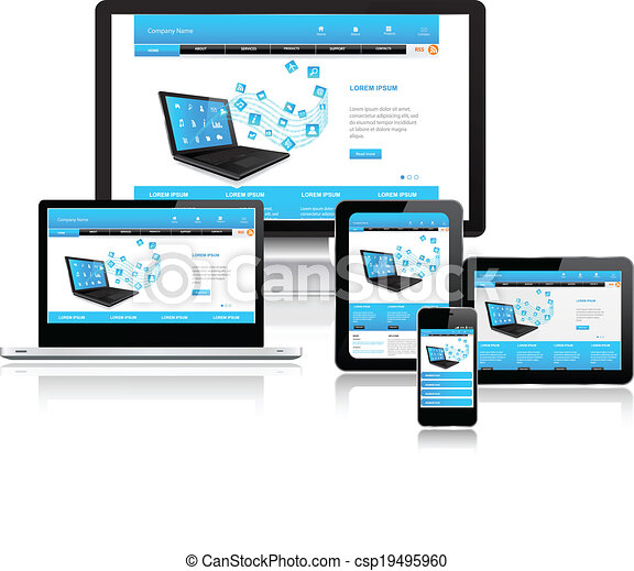 Clip Art Vector Of Website Template On Multiple Devices