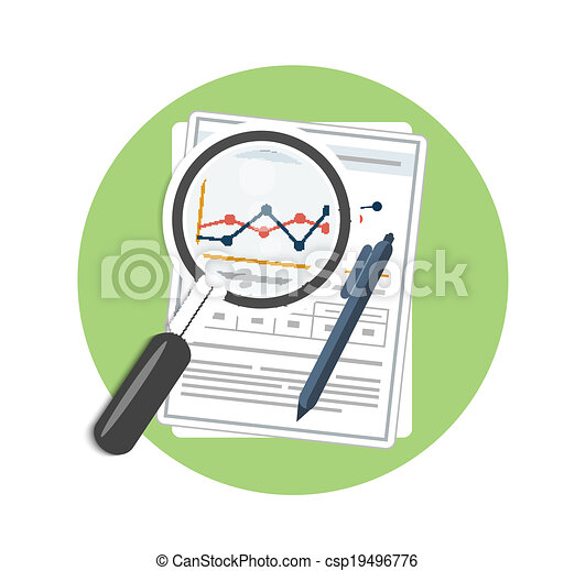 Magnifying glass, pen and chart - csp19496776