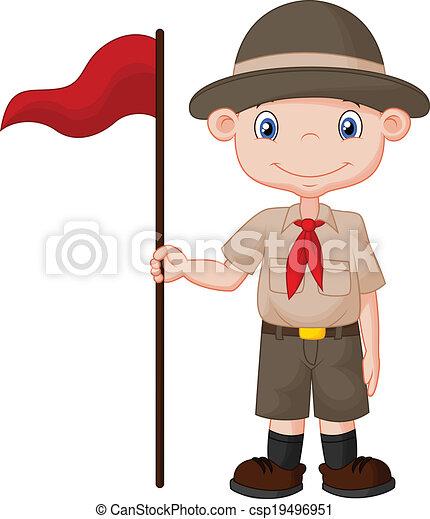 Clipart Vector of Cartoon boy scout holding red flag - Vector ...