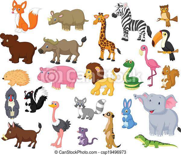 Wild animal cartoon collection - csp19496973
