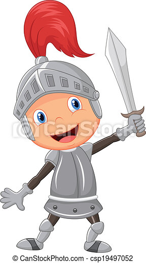Clipart Vector of Cartoon knight boy - Vector illustration ...