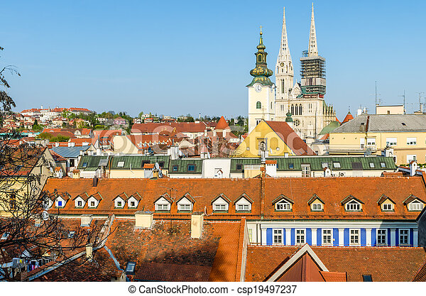 Aerial view of Zagreb rooftops - csp19497237