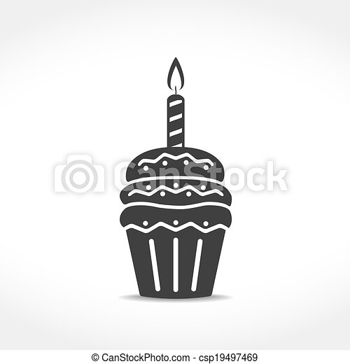 Birthday Cupcake Icon - csp19497469