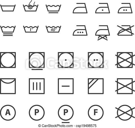 illustrations vectoris es de symboles instruction lavage collection lavage csp19498575. Black Bedroom Furniture Sets. Home Design Ideas