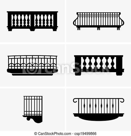 Clip Art de vectores de balcones - Conjunto, de, balcones ...