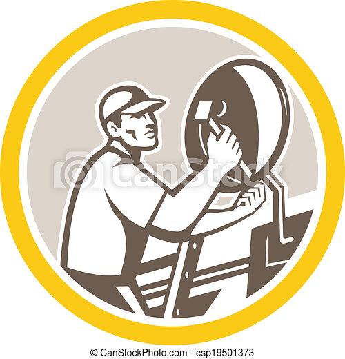 Vector Clipart of Satellite Installation Technician Worker – Satellite Dish Technician
