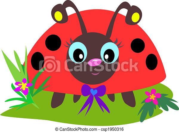 Clip Art Vecteur de coccinelle, yeux - ceci, mignon, coccinelle, a ...