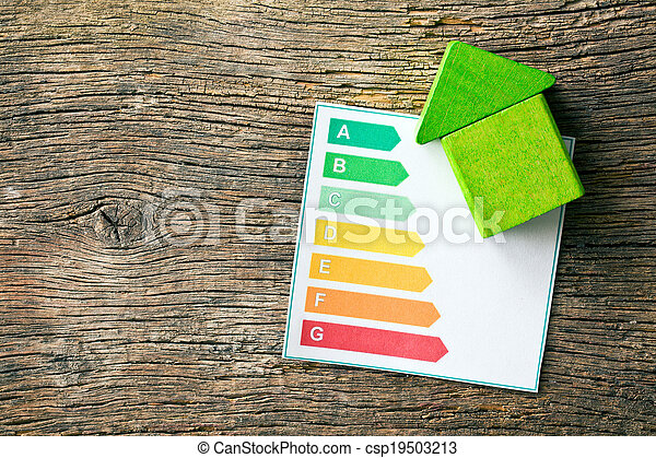 wooden house with energy efficiency levels - csp19503213