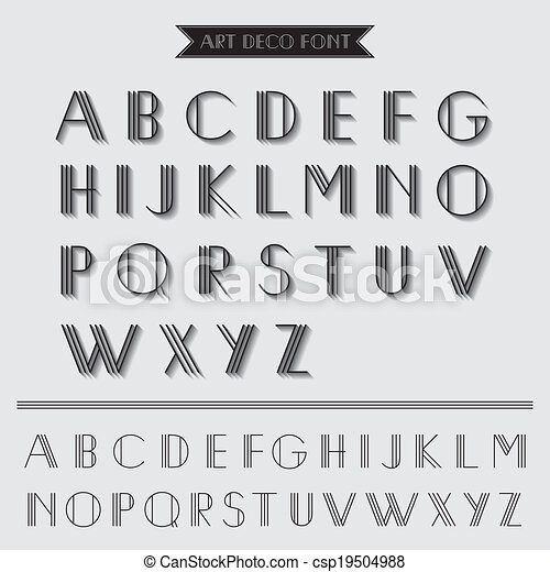 Art Deco Type Font, Vintage Typography - in vector EPS10 - csp19504988