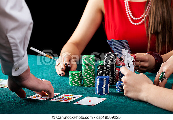 Female gambling table - csp19509225