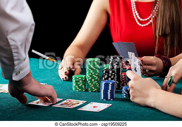 Female gambling table - csp19509225