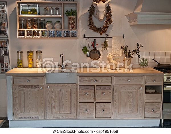 stock photo of modern neo classical design wooden country kitchen