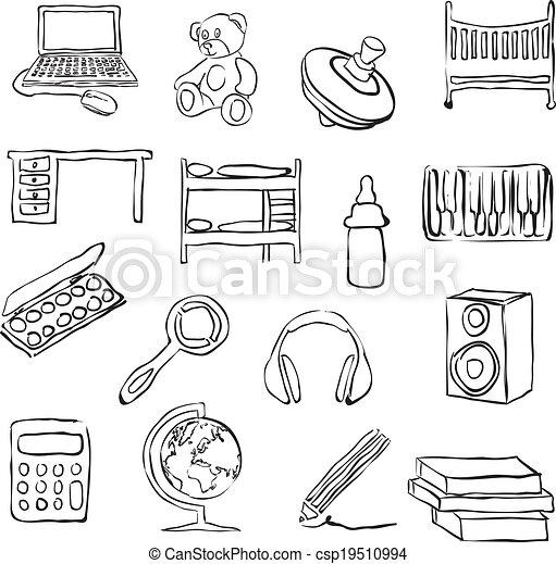 Vetor crian as sala doodle imagens estoque de for Sala de estar 3x5