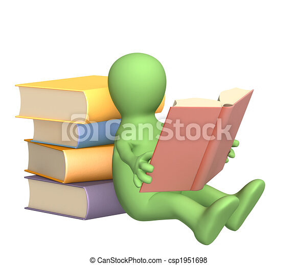 3d puppet, reading the book - csp1951698