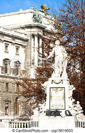 Mozart statue in Hofburg Palace garden, Vienna, Austria - csp19519503