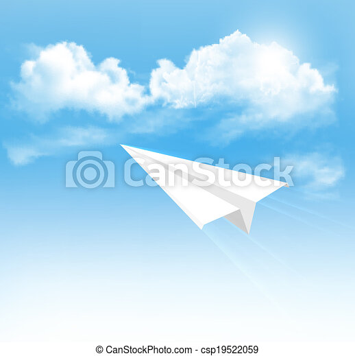 Paper airplane in the sky with clouds. Vector. - csp19522059
