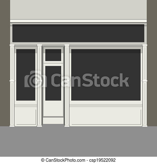 Store Doors Clipart eps vectors of shopfront with black windows. light store facade