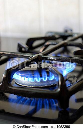 queimadura,  gás, Forno, em, cozinha - csp1952396