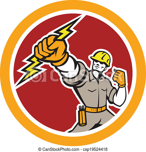 Electrician Wielding Lightning Bolt Circle Retro - csp19524418