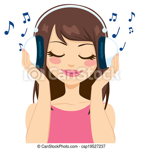 vectors of woman listening to music beautiful brunette woman clip art images women clipart free