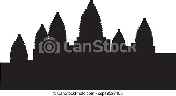 Cambodia Angkor Wat Drawing Silhouette of Angkor Wat in