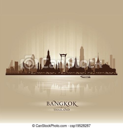 Bangkok Thailand city skyline vector silhouette - csp19528287