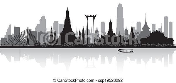 Bangkok Thailand city skyline silhouette - csp19528292