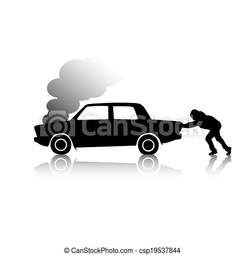 EPS Vector of Silhouette of man pushing a broken car steaming ...