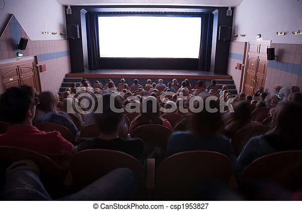 Cinema auditorium with people - csp1953827