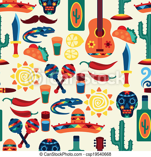 Mexican seamless pattern with icons in native style. - csp19540668