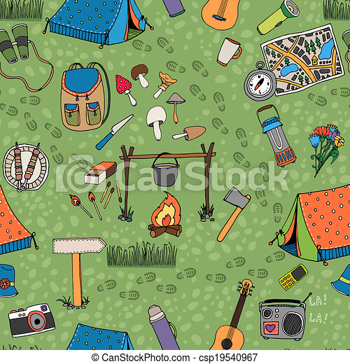 Seamless Camping Background Vector Pattern - Royalty Free ...