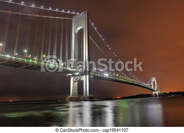 Stock Photography of Verrazano Narrows Bridge at Night ...