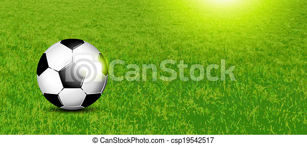 Vector Clip Art of Soccer banner - Sports background with football ...