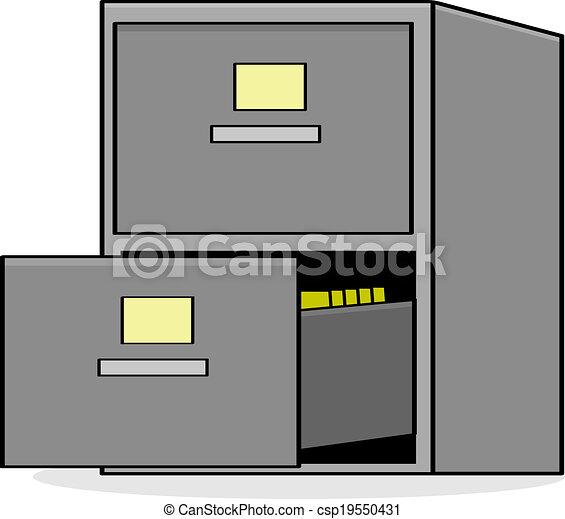 Vectors of File cabinet - Cartoon illustration showing a metal ...