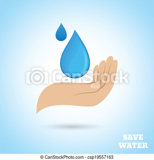 Clip Art Vector of Hands water protect poster - Hands holding drop ...
