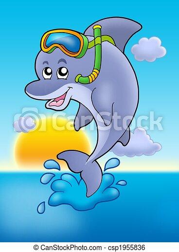 Illustration de dauphin snorkel plongeur coucher soleil - Dauphin dessin couleur ...